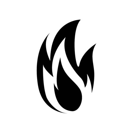 Fire flame icon isolated on white background.