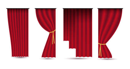 Set of red luxury silk velvet curtains and draperies.Realistic interior decoration design. Illustration isolated on white background.Raster version.Clipart