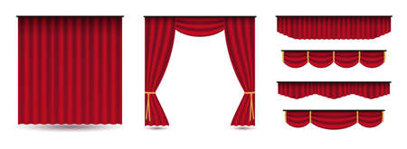 Set of red luxury silk velvet curtains and draperies.Realistic interior decoration design.Clipart illustration isolated on white background