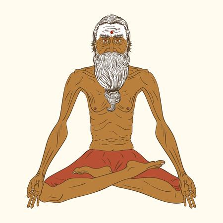 hombre viejo: Ilustración vectorial de un yogui meditando. Hombre indio viejo yoga pose de loto.
