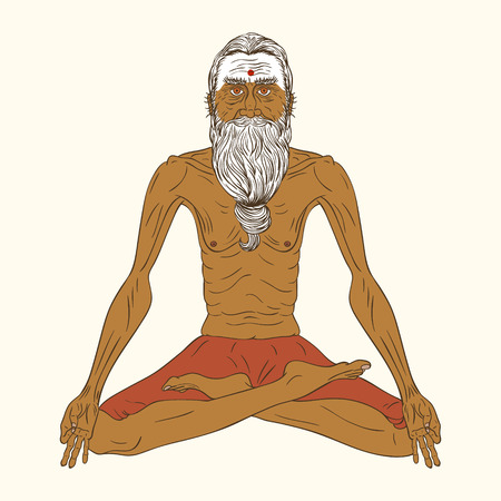 Vector illustration of a meditating yogi. Old indian man in yoga lotus pose.