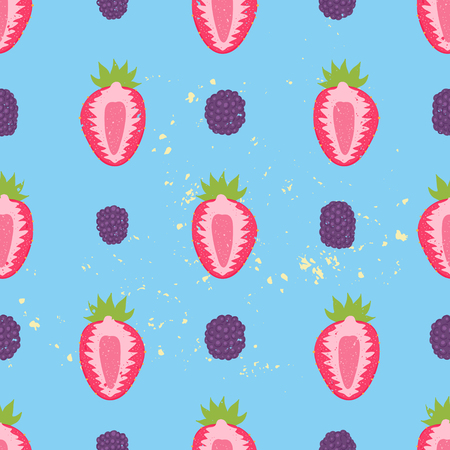 blackberries: Sweet berry seamless pattern with blackberries and strawberries. Vector illustration. Fruit background. Illustration