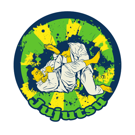 jiu jitsu: Colorful illusnration with Brazilian Jiu Jitsu Fighters. Two wrestlers on the mat for your design.