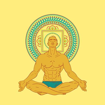 meditation man: Beautiful Caucasian Man sitting in meditation pose isolated on background.
