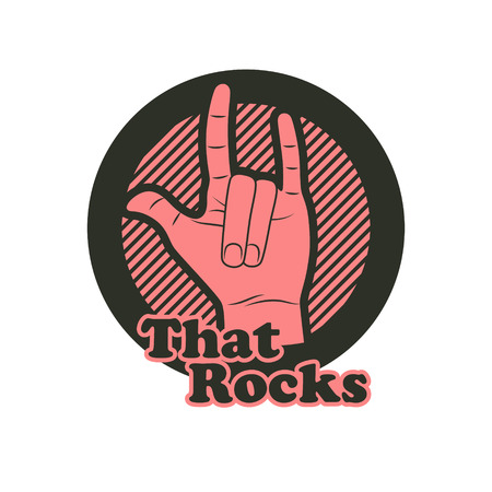 that: Hand in that rocks sign. Rock n roll symbol.