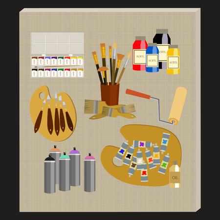 art materials: Art supplies and tools pack. Painting tools icon set. Materials for painting. Illustration