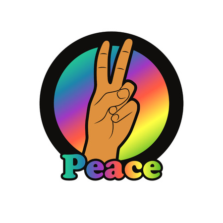 hand gesture: Peace hand gesture. illustration of peace icon. Hand showing two fingers.