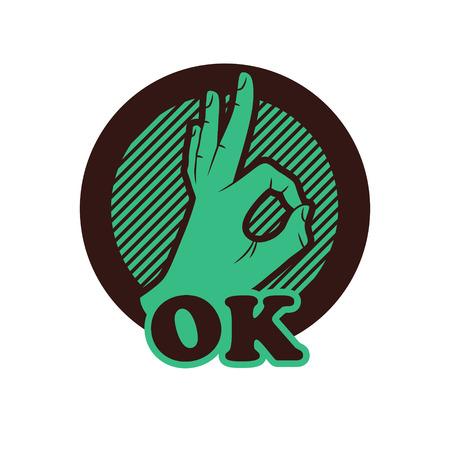 ok sign language: Ok hand illustration, OK sign icon. Illustration
