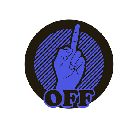 obscene: Hand with middle finger icon. Illustration