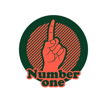 bjj: Number one finger sign.  Finger up gesture icon. Illustration