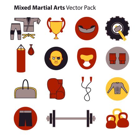 bjj: Mix Martial Arts Icons Set.