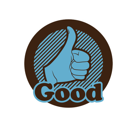 sign up: hand showing thumbs up button, icon.  Human hand giving ok. Illustration