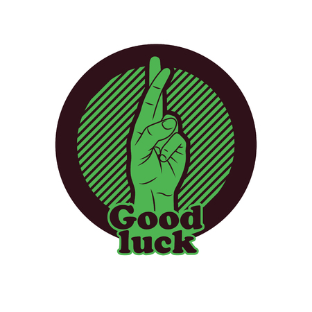 falsity: Fingers Crossed Sign. Crossed Hand Sign gesturing for Good luck and Fortune.