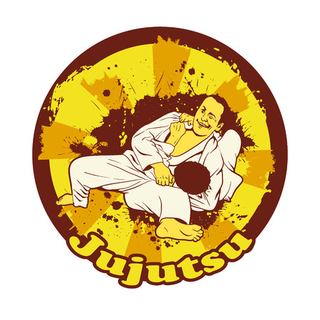 jiu jitsu: Colorful illustration with Brazilian Jiu Jitsu Fighters. Two wrestlers on the mat for your design.
