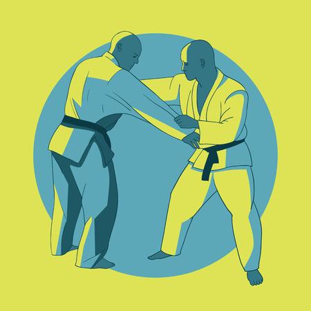 bjj: Poster with jiu-jitsu fighters.  Martial arts banner.