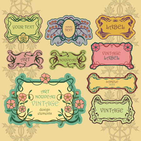 apothecary: Set of ornate vintage labels. Vintage border pack.