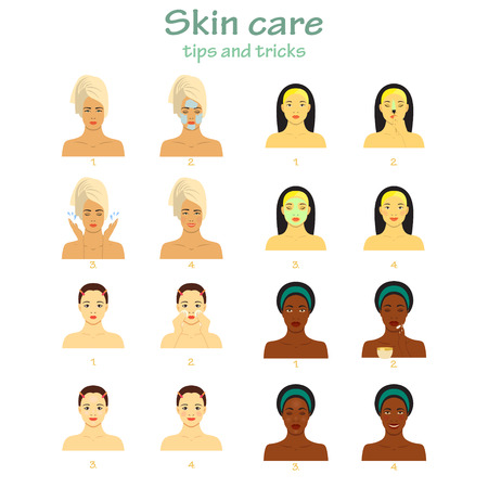 skin tones: Icon set for skincare infographic. Different young women showing four steps face care. Beautiful girls of different races. Different skin tones.
