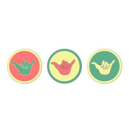 Hang loose hand sign. Symbol of surfing or Brazilian Jiu-Jitsu. Illustration