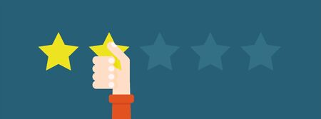 Flat vector illustration. Customer reviews give two stars. The concept of feedback. Vector Illustratie