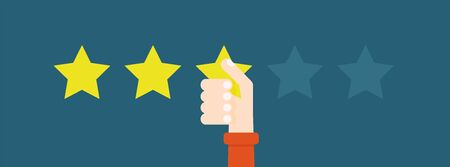 Flat vector illustration. Customer reviews give three stars. The concept of feedback.