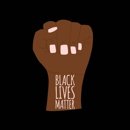 Vector illustration: Black Lives Matter. Human hand.