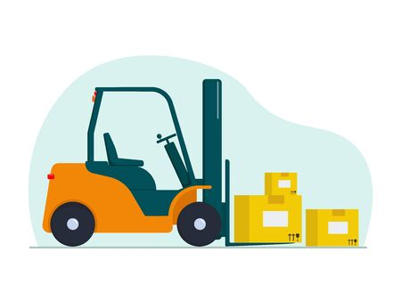 Flat vector illustration: forklift with boxes. Ilustracja