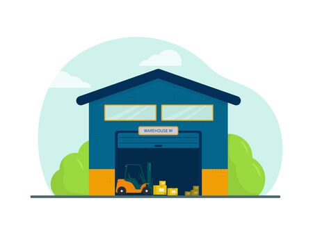 Flat vector illustration: warehouse. Forklift with boxes.