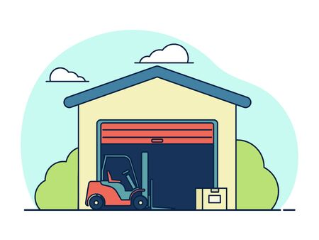 Vector illustration: warehouse. Forklift with boxes. Outline style. Ilustracja