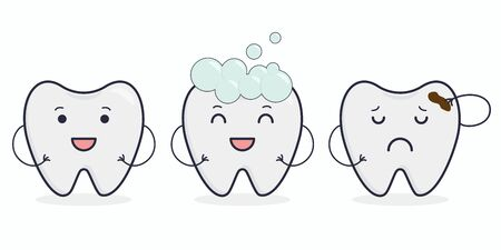 Vector illustration: cute teeth. Healthy tooth. Tooth in toothpaste. Tooth with caries.