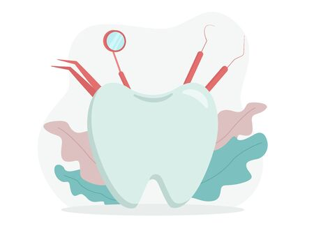 Vector illustration: concept of tooth and dental tools.