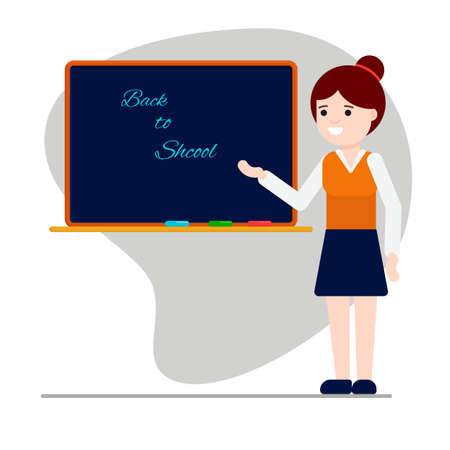 Flat vector illustration: teacher near the blackboard. Back to school. Banque d'images - 150882627