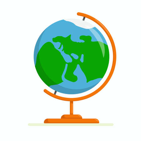 Flat vector illustration: school geographic globe. Isolated on a white background.