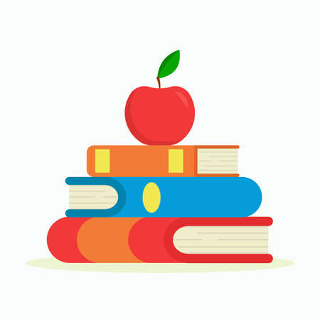 Flat vector illustration: stack of books and an apple. The concept of learning. Vector illustration Ilustrace
