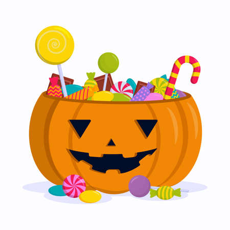 Flat vector illustration: pumpkin with sweets, lollipops and chocolates. Happy Halloween.