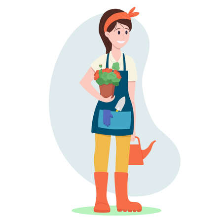 Vector illustration: woman gardener. A woman is holding a pot of geraniums.