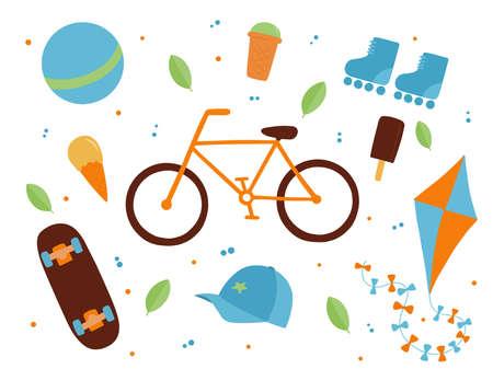 Vector illustration: set of concept park elements. Ice cream, bike, skateboard, rollers.