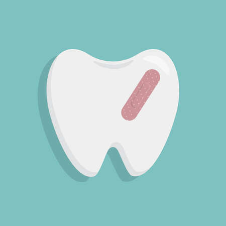 Flat vector illustration: tooth with plaster