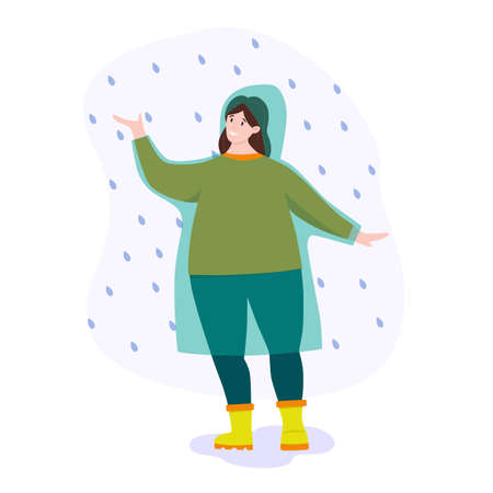 Vector illustration: woman in raincoat in the rain. Walking in the rain.