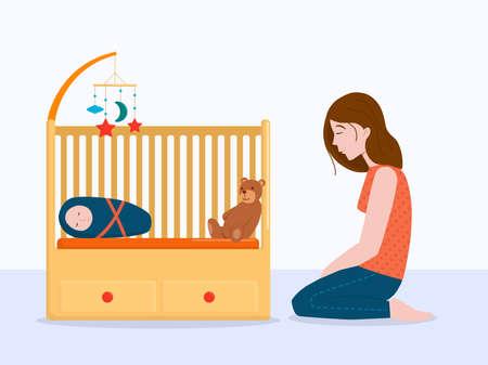 Vector illustration: sad woman at the baby cot. Postpartum depression concept.