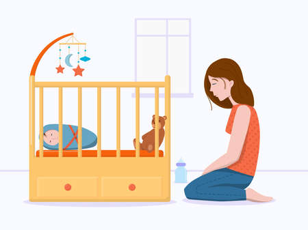 Vector illustration: postpartum depression concept. Postnatal depression. Tired, sad young woman sitting on floor near bad with sleeping baby. 向量圖像