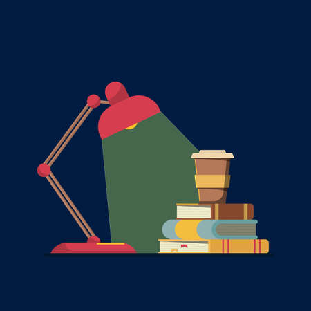 Flat vector illustration: night learning concept. Lamp at night. Concept of the night before the exam.