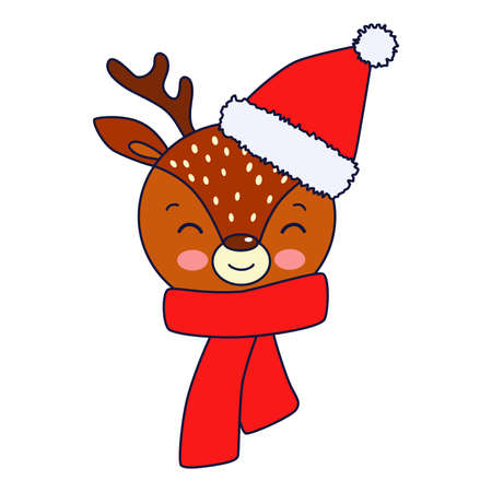 Vector illustration: cute face of Christmas deer in hat. Merry Christmas card background. Ilustracja