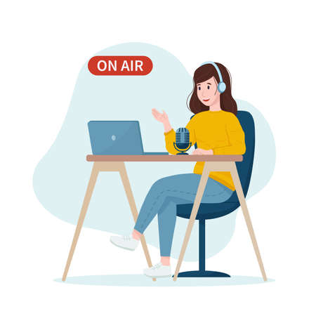 Stock vector illustration: podcast concept. Woman podcaster talking with a microphone, recording a podcast. Vector illustration