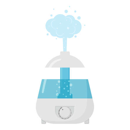 Flat vector illustration: electric air humidifier. Healthy humidifier icon.