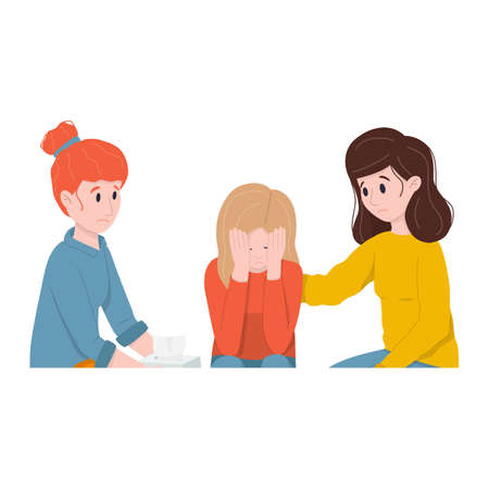 Friendly support concept and comforting friends. Two women support crying friend.