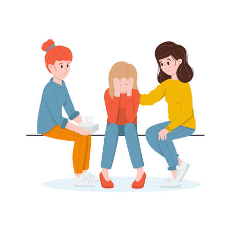 Female support concept. Two women support a crying friend.