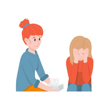 Women support a crying friend. Friendly support concept and comforting friends.