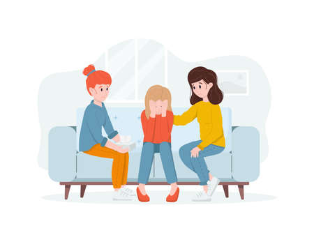 Two women support a crying friend. Friendly support concept and comforting friends.