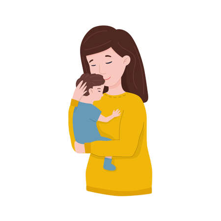 Happy young mom hugs her baby. Happy Mothers Day Greeting Card. Vektorové ilustrace