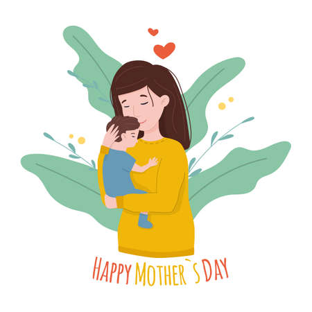 Happy young mom hugs her baby. Happy Mothers Day Greeting Card.